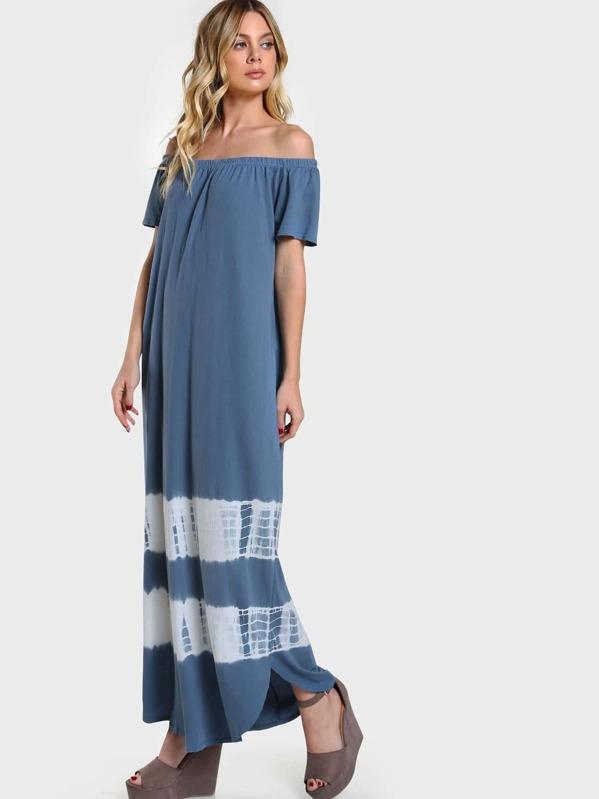 ca722e1b12 Tie-Dye Off Shoulder Maxi Dress BLUE -SheIn(Sheinside)
