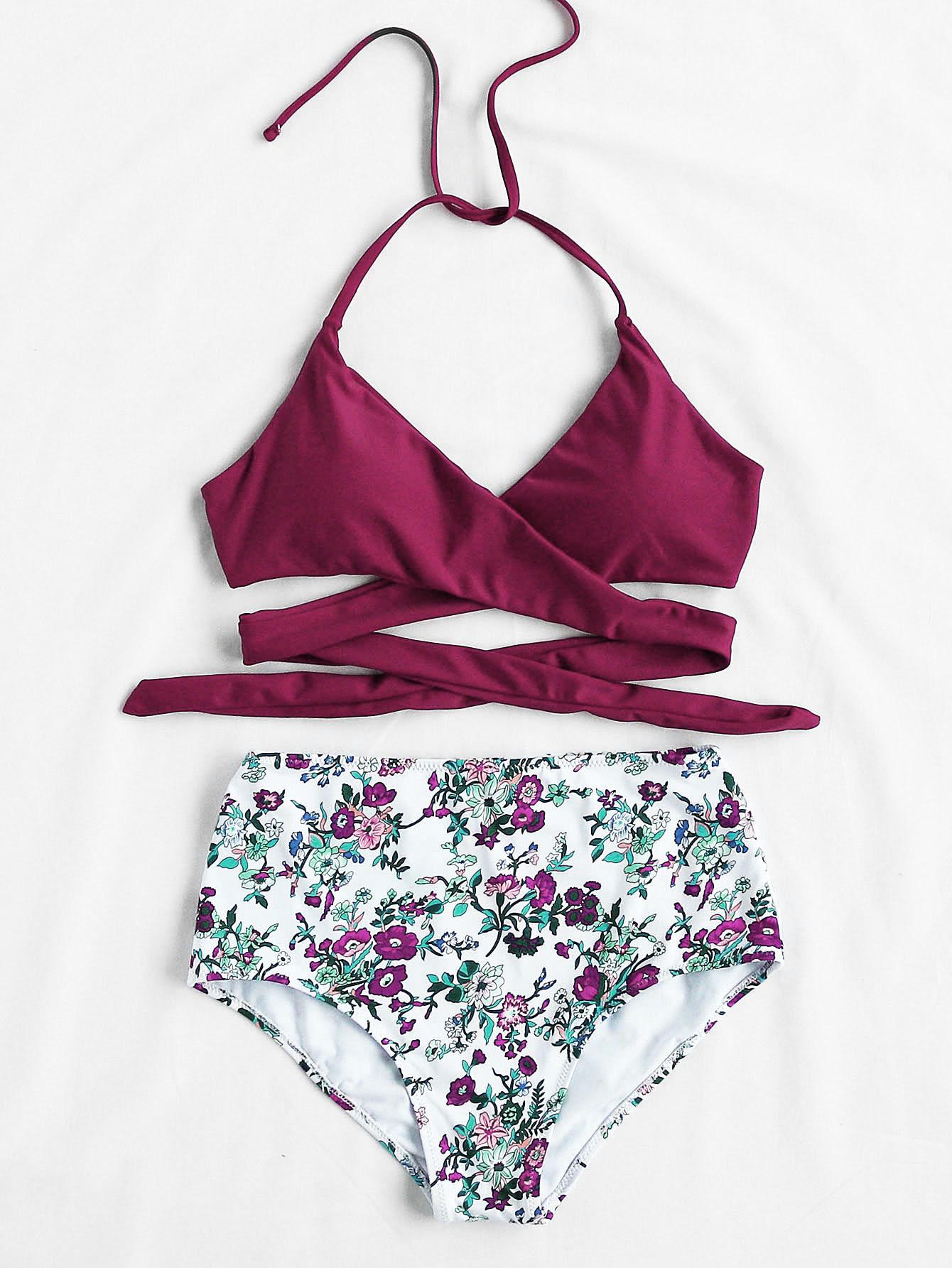 Calico Print High Waist Wrap Bikini Set