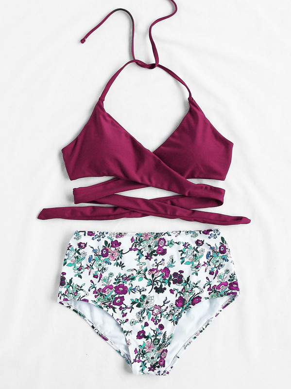 0e7164c23d Calico Print High Waist Wrap Bikini Set | SHEIN