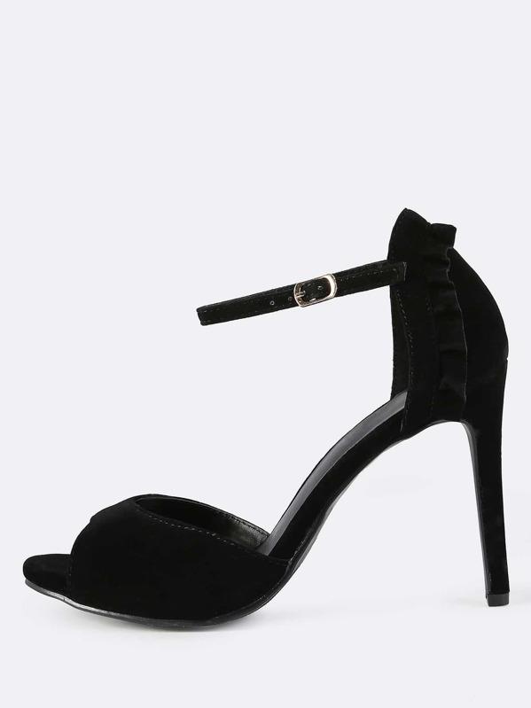 9729f88cfb75ac Ankle Strap Faux Suede Frill Heels BLACK -SheIn(Sheinside)