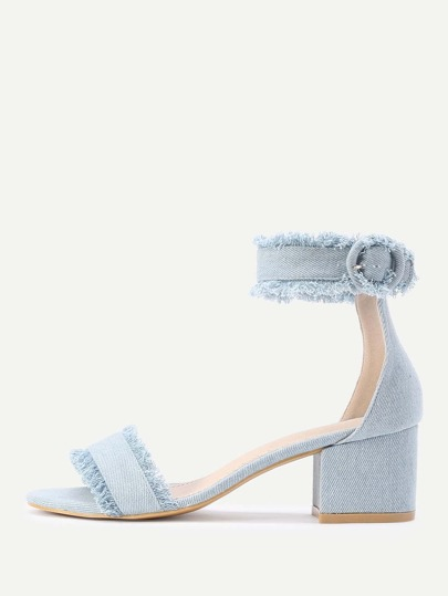 a9225ceb4f83ea Raw Trim Block Heeled Denim Sandals -SHEIN(SHEINSIDE)