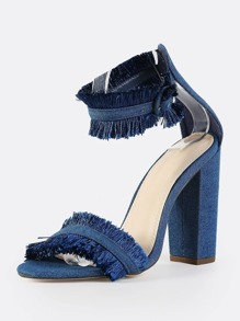410aba302ee Denim Ankle Strap Fringe Heels DENIM