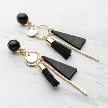 - Triangle And Tassel Detail Drop Earrings With Gemstone