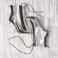 - Lace Up Zipper Back Transparent Heels