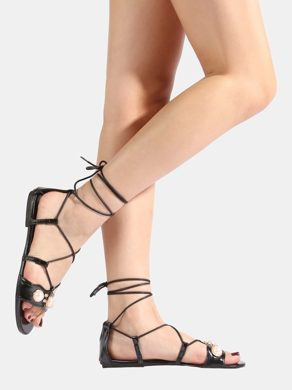Faux Leather Pearl Wrap Up Sandals BLACK