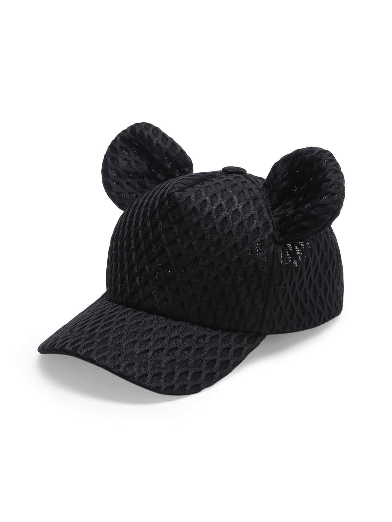 0a8ab4b393b Net Overlay Cute Ear Baseball Cap -SheIn(Sheinside)