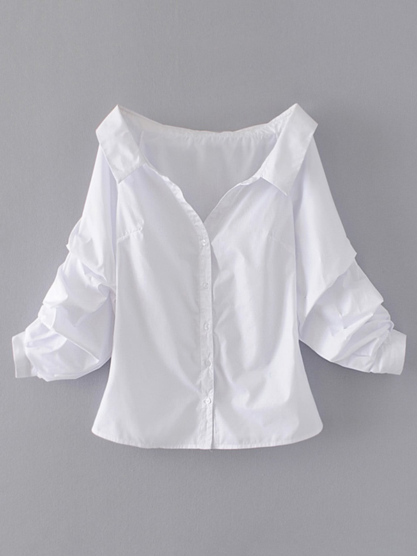 b54279c394 Off Shoulder Single Breasted Blouse   SHEIN