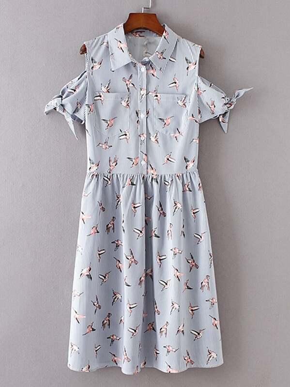 c1032745f08 Open Shoulder Pinstripe Knot Detail Shirt Dress