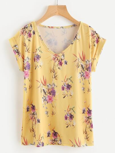 Rolled Cuff Flower Print Tee