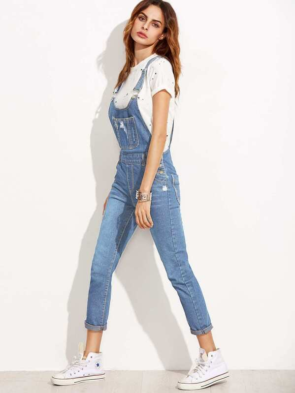 ripped overall jeans with pocket shein sheinside