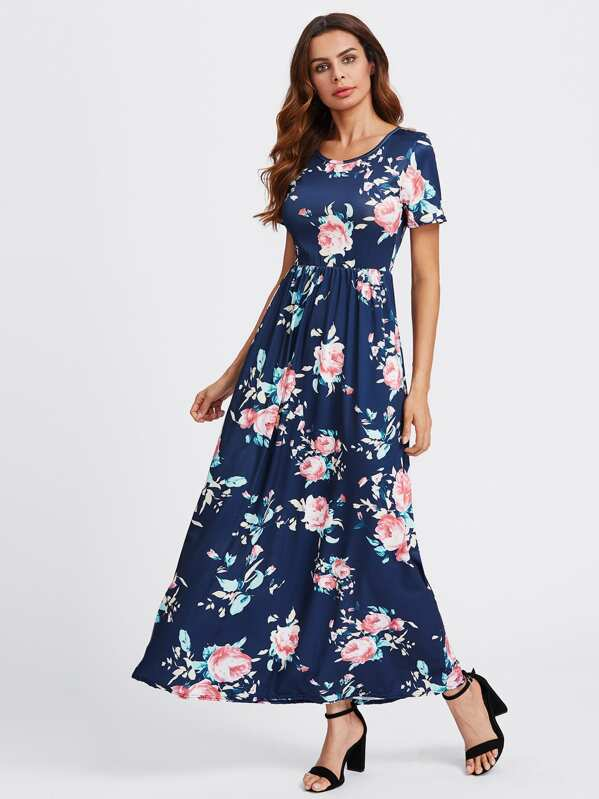 2970ad4d06 Flower Print Maxi Dress | SHEIN