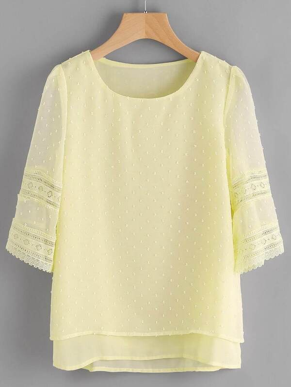 7ffea4d58bc928 Hollow Out Lace Insert Dobby Chiffon Overlay Blouse   SHEIN UK