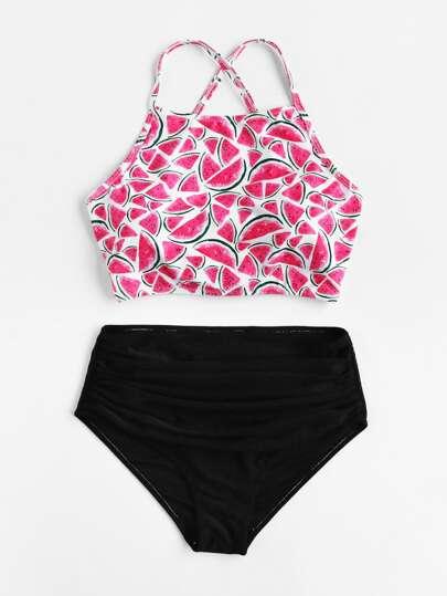 5b05221f84 Watermelon Print Cross Back With High Waist Bikini