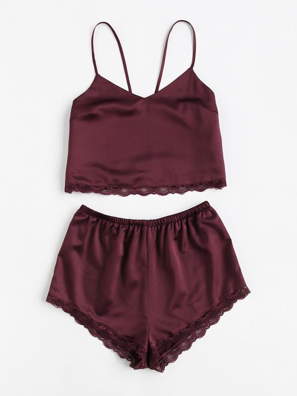 658eebd099 Lace Trim Satin Cami And Shorts Pajama Set -SheIn(Sheinside)