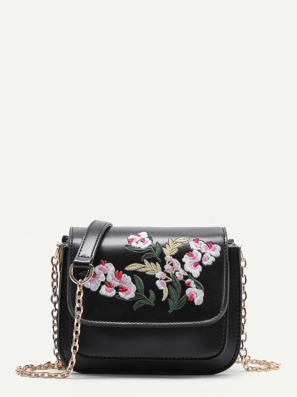 d2db29fd33 Flower Embroidery PU Flap Bag