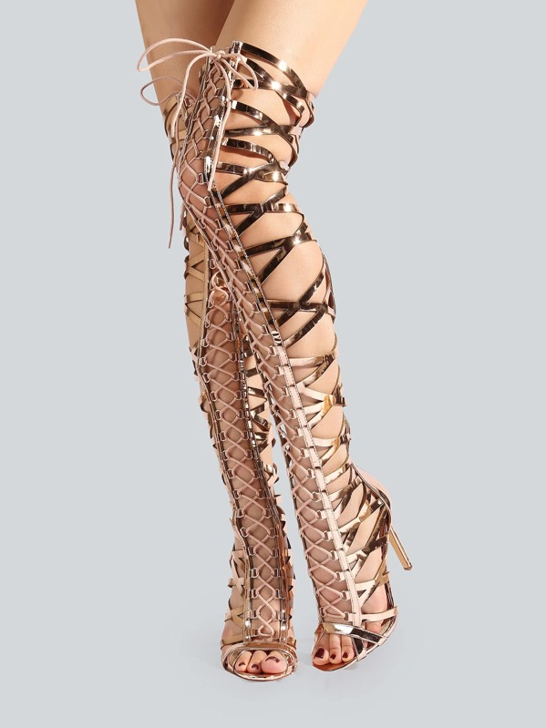 1c43809a0622 Metallic Caged Thigh High Heels ROSE GOLD