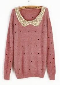 Pink Vintage Polka Dot Sequins Collar Fluffy Jumper Sweater