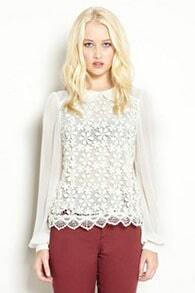 Sweet Vintage-style Lace Flowers Chiffon Long Sleeve Shirt White