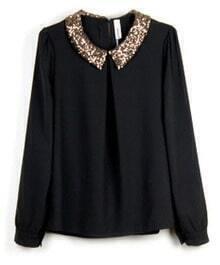 Vintage Sequined Black Chiffon Long-sleeved Shirt Collar