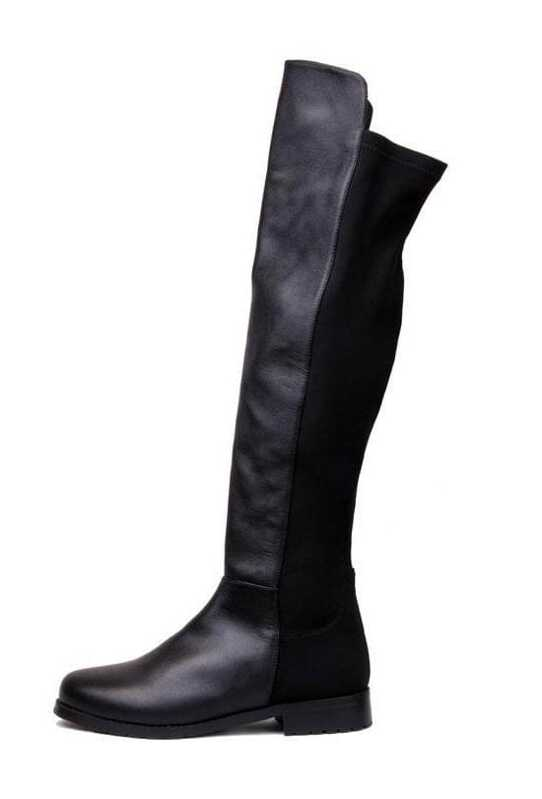 bb6a68116b Leather Lycra Flat Knee High Boots Black. AddThis Sharing Buttons