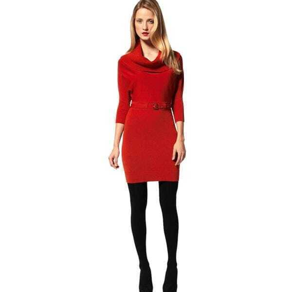 Knitted Dress With Cowl Neck Red -SheIn(Sheinside)