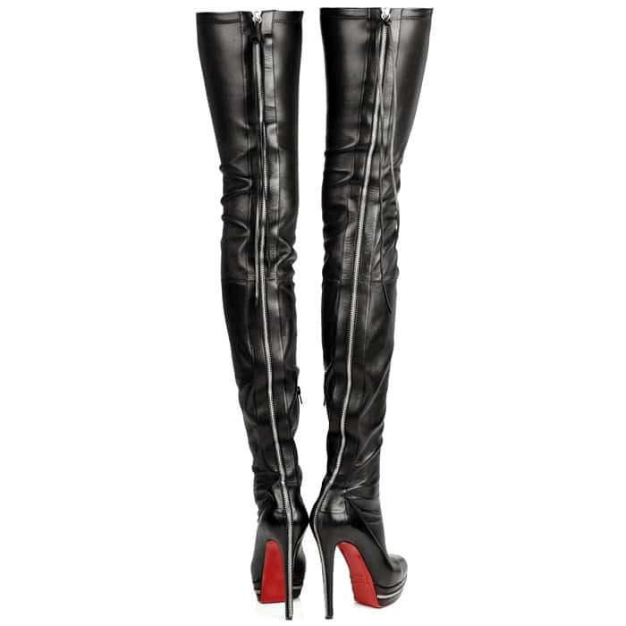Black Leather Zip-Back Over-the-Knee Boot -SheIn(Sheinside)