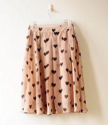 Sweet Beige Dot Pleated Chiffon Romantic Skirt