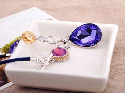 Purple Teardrop Swarovski Crystal Pendant String Necklace