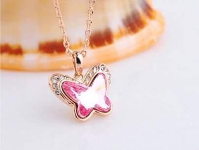 Pink Butterfly Swarovski Crystal Pendant Gold Gilded Necklace