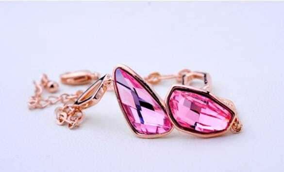 Pink Asymmetric Swarovski Crystal White Gold Inlaid Gemstone Woman Link Bracelets