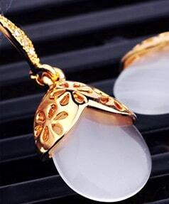 Champagne Gold Gilded Teardrop Dangle Earrings