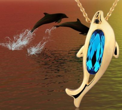 Blue Dolphin Swarovski Crystal Pendant Gold Gilded Necklace