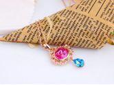 Pink Oval with Blue Teardrop Swarovski Crystal Pendant Gold Gilded Necklace