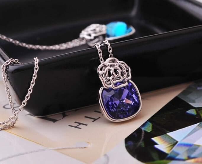Purple Amethyst Flower Swarovski Crystal Pendant Sterling Silver Necklace