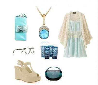 Blue Circle Swarovski Crystal Pendant Gilded Necklace