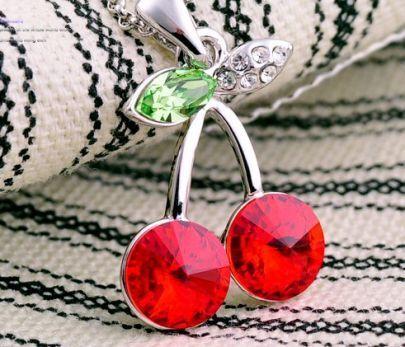Red Cherry Swarovski Crystal Pendant Sterling Silver Necklace