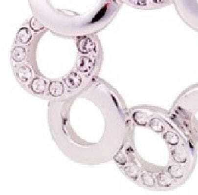 Gilded White Gold Circle With Diamond Dangle Earrings
