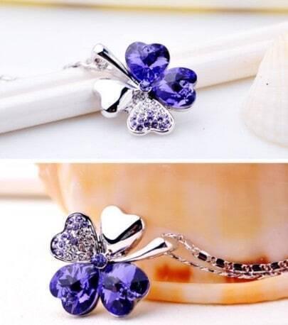 Purple Shamrock With Heart Swarovski Crystal Pendant Sterling Silver Necklace