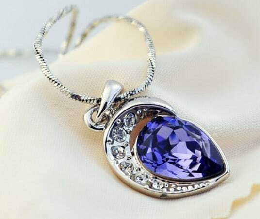 Purple Two Teardrop Swarovski Crystal Pendant Sterling Silver Necklace
