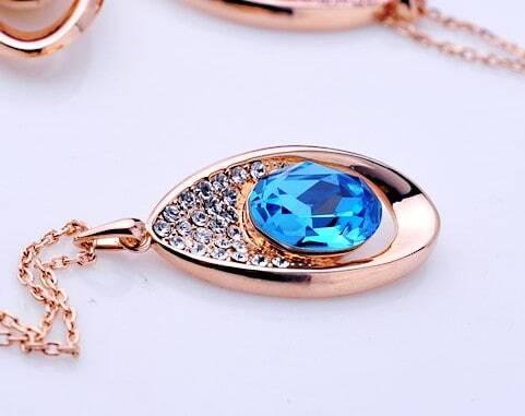 Teardrop Pendant with Blue Swarovski Crystal Gilded Necklace