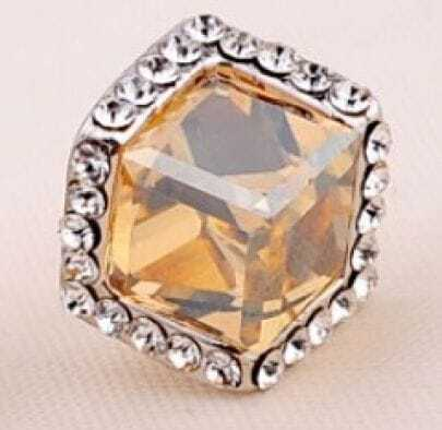 Cube Champagne Gold Swarovski Crystal Round with Diamond Stud Earrings