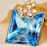 Light Blue Square Swarovski Crystal With Shamrock Diamond Stud Earrings