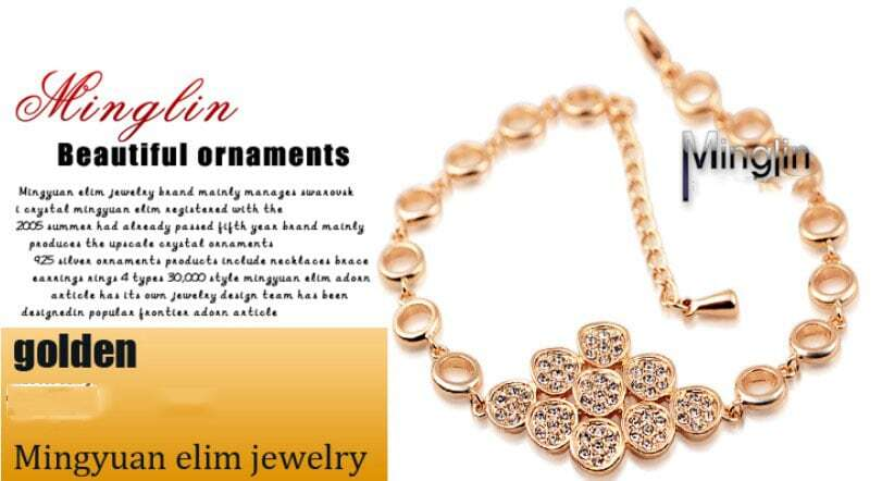 Yellow Round Gold Plated And Crystal Woman Circle Link Bracelets