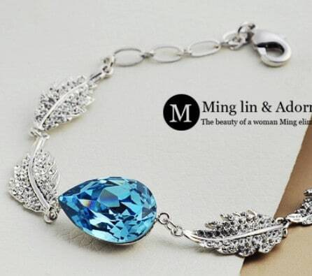 Blue Teardrop Swarovski Crystal Woman Silver Angel Tears Link Bracelet