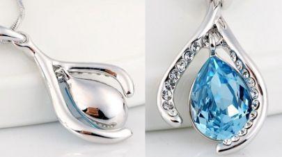 Wishbone With Sky Blue Teardrop Swarovski Crystal Pendant Sterling Silver Necklace