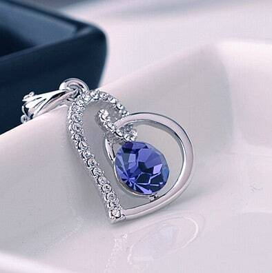 Heart With Purple Swarovski Crystal Pendant Sterling Silver Necklace