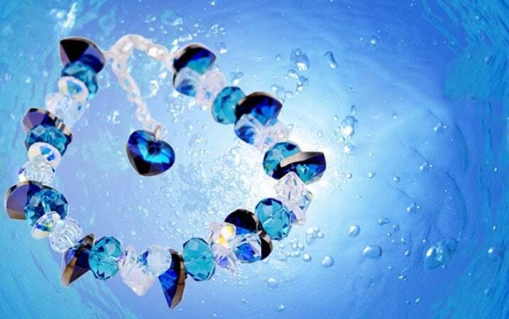Blue Heart Swarovski Crystal And Silver Gemstone Woman Link Bracelets