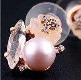 Glod Fish Czech Crystal Globe Pearl Shamrock With Diamond Stud Earrings
