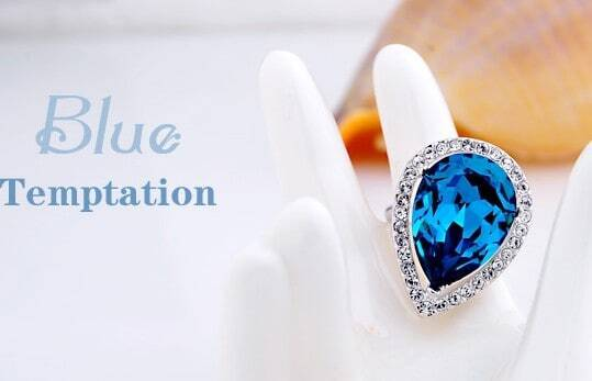 Blue Teardrop Swarovski Crystal Mosaic Gemstone Woman Ring
