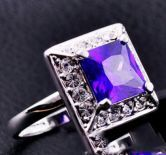Purple Cube Amethyst Gemstone Gold Plated Woman Ring
